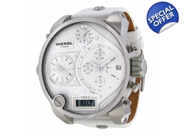 Diesel Time Zone Chronograph White Leather Strap..
