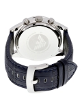 Emporio Armani AR6089 Navy Blue Dial Black Leather Men's Watch