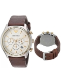 Armani AR11033 Brown Leather Chronograph White Dial Men's Watch