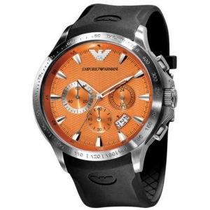 Emporio Armani AR0652 - Mens Orange Rubber Strap Chrono Watch
