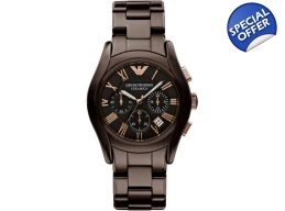 Emporio Armani AR1446 Brown Ceramica Quartz Mens..