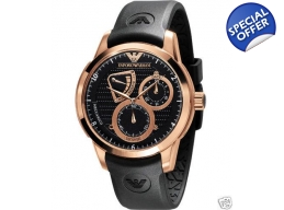Emporio Armani Mens Black Rose Gold Watch AR4619