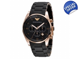 Emporio Armani AR5905 - Mens Chrono Black Rose G..