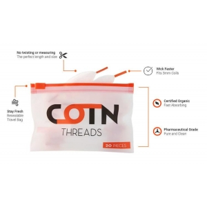 COTN Threads 100% Organic | 'Wick and Thread Ready' | 20 Pieces per Resealable..
