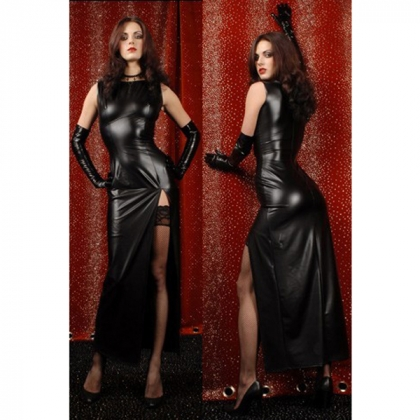 PU LEATHER CLINGY DRESS