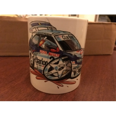 koolart cartoon peugeot 306 Rally Car Mug
