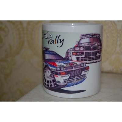koolart Lancia Delta Rally Car 10oz white ceramic mug