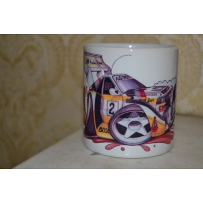 kollart Audi Quattro Koolart Rally Car 10oz white ceramic mug