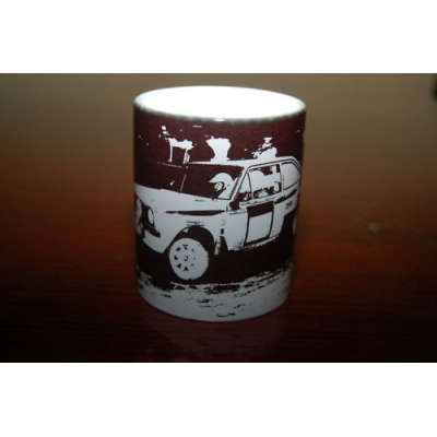 MK2 Escort Rally Car 11oz ceramic mug printed in black and white