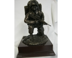 Kneeling Combat Figure with Helmet