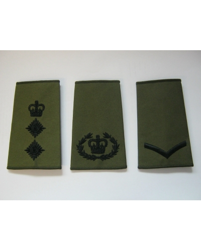 Olive Green Rank Slide with Black Embroidery