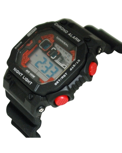 Cannibal Digital Chronograph Black Silicone Watch