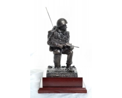 Kneeling Signaller Figure in Bronze Re..