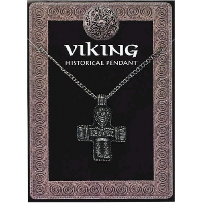 Viking Cross Amulet Pendant Pewter on Chain
