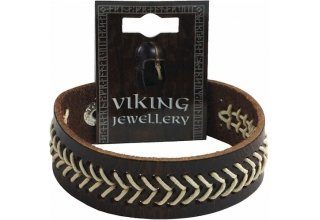 Viking Stitched Leather Stud Bracelet, Dark