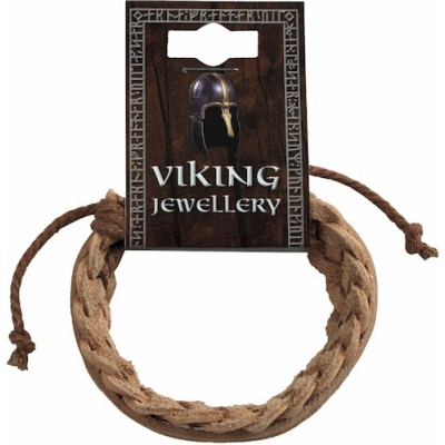 Viking Brown Leather Plaited Bracelet, Clear