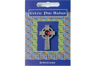 Interlaced Cross Gem Pin Badge