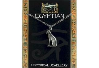 Egyptian Cat Pendant Pewter on Chain
