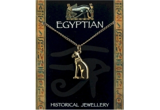 Egyptian Cat Pendant Gold Plated on Chain