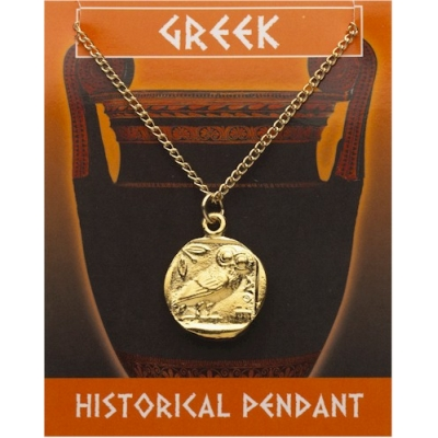 Greek Owl Coin Pendant ..