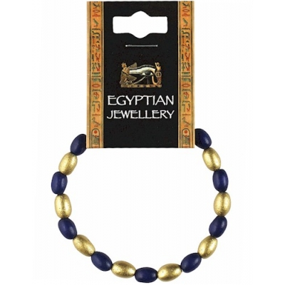Egyptian Blue & Gold Bead Bracelet