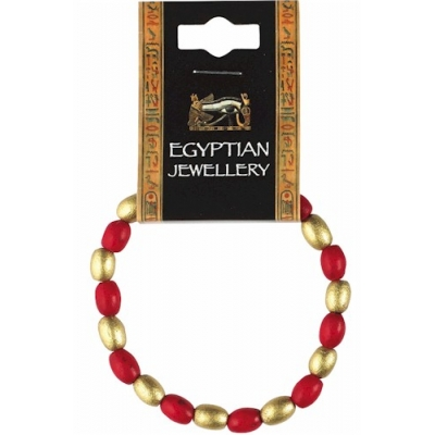 Egyptian Red & Gold Bead Bra..