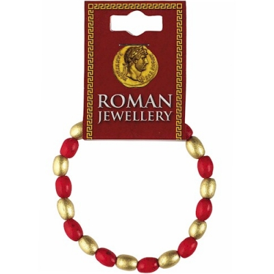 Roman Red & Gold Bead Bracelet