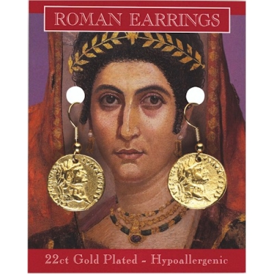 Roman Coin Earrings - Gold Plated
