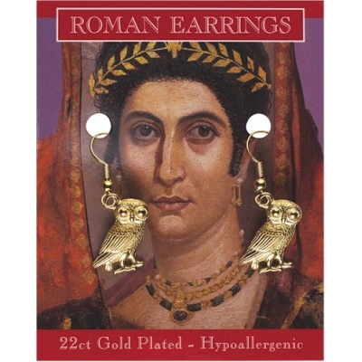 Roman Owl Earrings - Go..