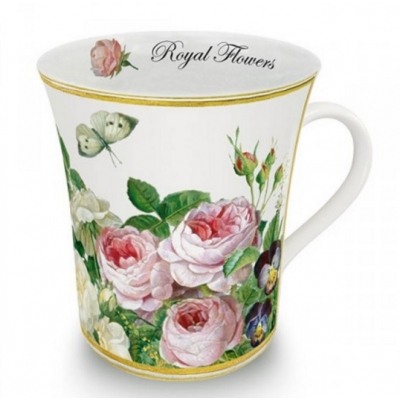 Ceramic Mug, 'Royal Flowers', white