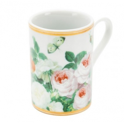 Ceramic Minipresso Cup, 'Royal Flowers', white