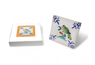Tile with a Dutch motif - a bird with cherries, 13x13