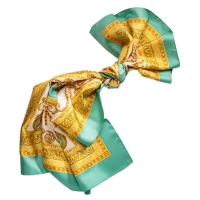 "Silk scarf ""Louise"" Gold-Green"