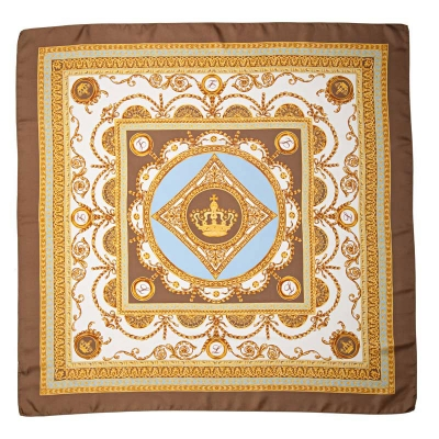 "Silk scarf ""Louise"" Blue-Brown"