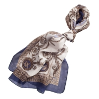 "Long Silk scarf ""Louise"" Silver-Blue"