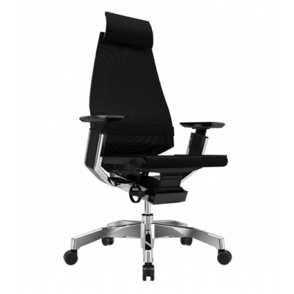 Genidia Mesh office chair with headrest in black mesh
