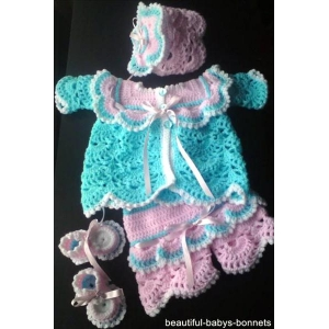 08 - Matinee Coat, Bonnet, Shorts & Shoes Crochet Pattern