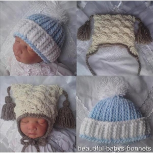 19 - Boys Pom Pom & Textured Earflap Hat Crochet Pattern