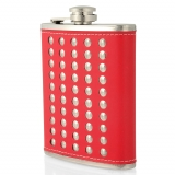 7oz Studded Hip Flask Red/Black
