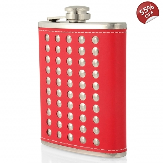 7oz Studded Hip Flask Red