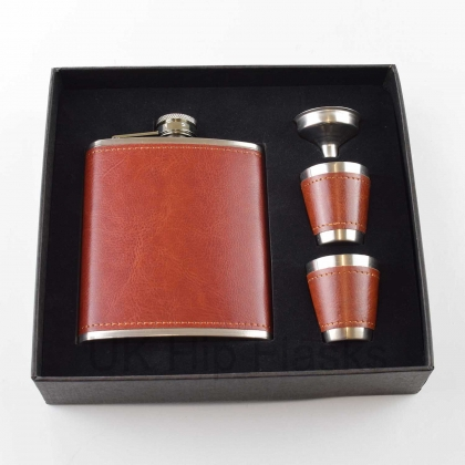 PU Leather 7oz Flask Russet Red Gift Box & Cups