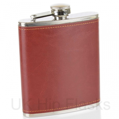 PU Leather 7oz Flask Russet Red