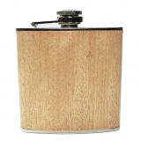 6oz Wood Hip Flask - Light