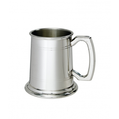 Double line Pewter Tankard with Plain handle - 1/2 Pint