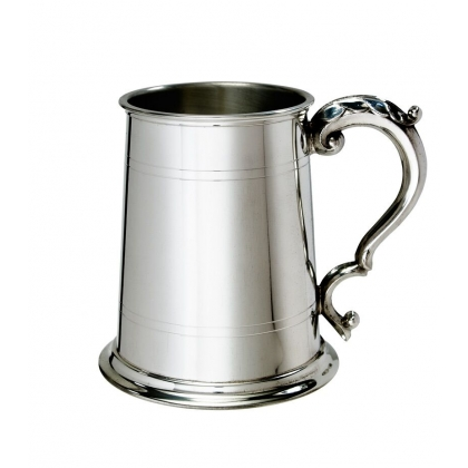 Double line Pewter Tankard with Georgian Handle - 1 Pint