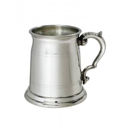 Double line Pewter Tankard with Georgian Handle - 1/2 Pint