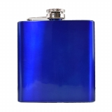 Blue Metallic Hip Flask