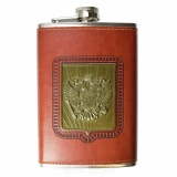 PU Leather 9oz Russia Flag Hip Flask