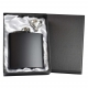 6oz Matt Black Hip Flask in Gift Box