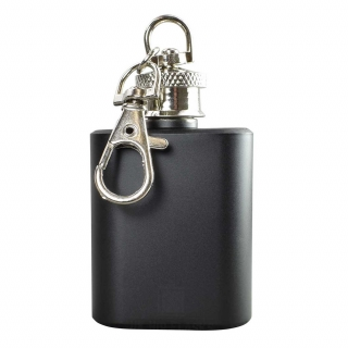 Mini Hip Flask Keyring in Black